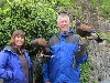 Carol & Rich Orloski about to set off and fly Milly & Geimhreadh on their recent Hawk Walk.