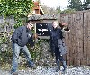 Matthew Salmon & Jamie Pettit about to set off and fly Samhradh & Earrach at the start of their recent Hawk Walk with us.