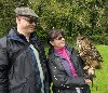 Marco & Esther Engler with Dingle during their third visit to the Falconry School recently.