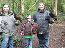 Tim, Tabitha & 10 yr old Brianna flying Milly, Samhradh & Fomhar on their recent Hawk Walk.