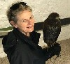 Here is Andrea Goldsmith looking forward to setting off to fly wonderful Bagun on her Hawk Walk with us last year.