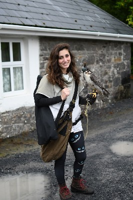 For World Falconry Day (slogan Women Falconers) here is Marine setting off to fly Corrib. Corrib is one of our wonderful Peregrine/Saker hybrid falcons.