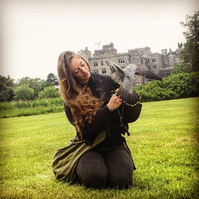 For World Falconry Day (this years slogan is Women Falconers) here is wonderful Mel, with Corrib (our Peregrine/Saker hybrid falcon), by the castle.