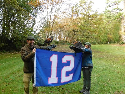 Thank you to Sean & Angela Kimmel for these great photos from their recent Hawk Walk. Sean & Angela flew Ispini & Bagun and took the opportunity to introduce them to the Seattle Seahawks 12 man flag!